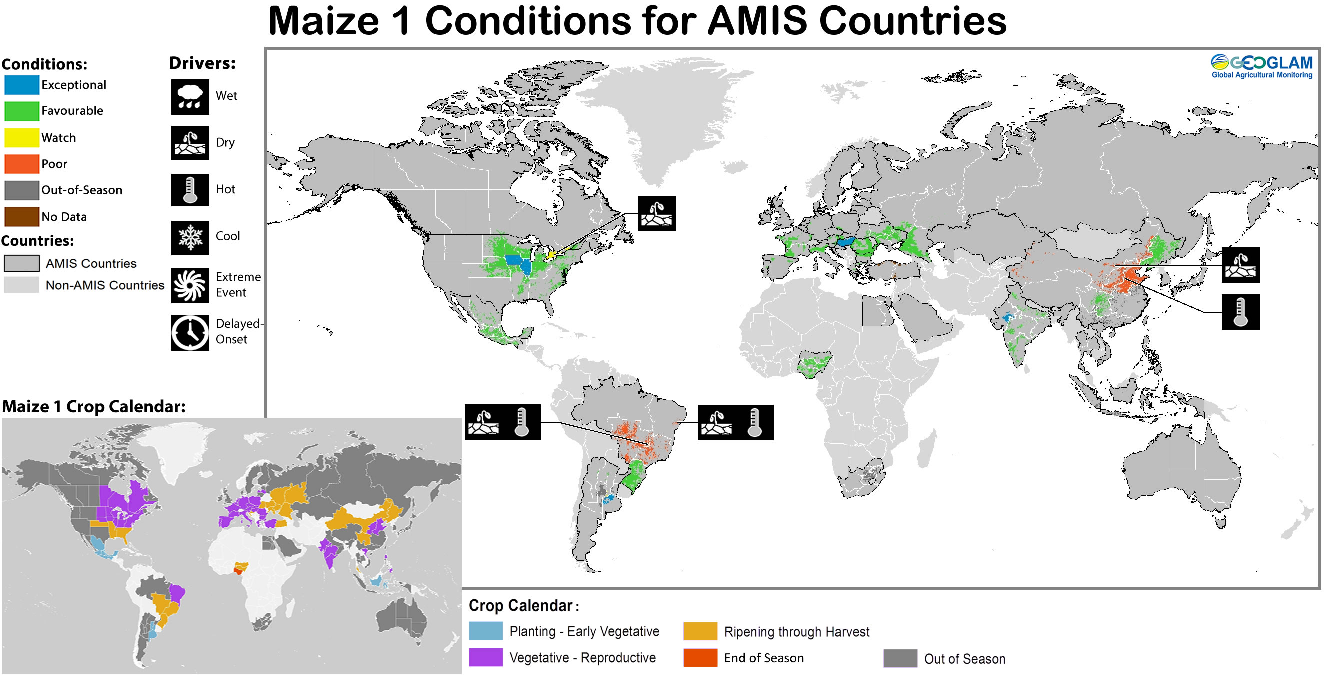 Maize 1 crop conditions over main growing areas are based upon a combination of national and regional crop analyst inputs along with earth observation data. Condition information is based upon information as of August 28th 2016. Where crops are in less than favourable conditions the climatic drivers responsible for those conditions are displayed.  The crop calendar is provided as a point of reference to provide information on what part of the life cycle the crops are currently in for each area.