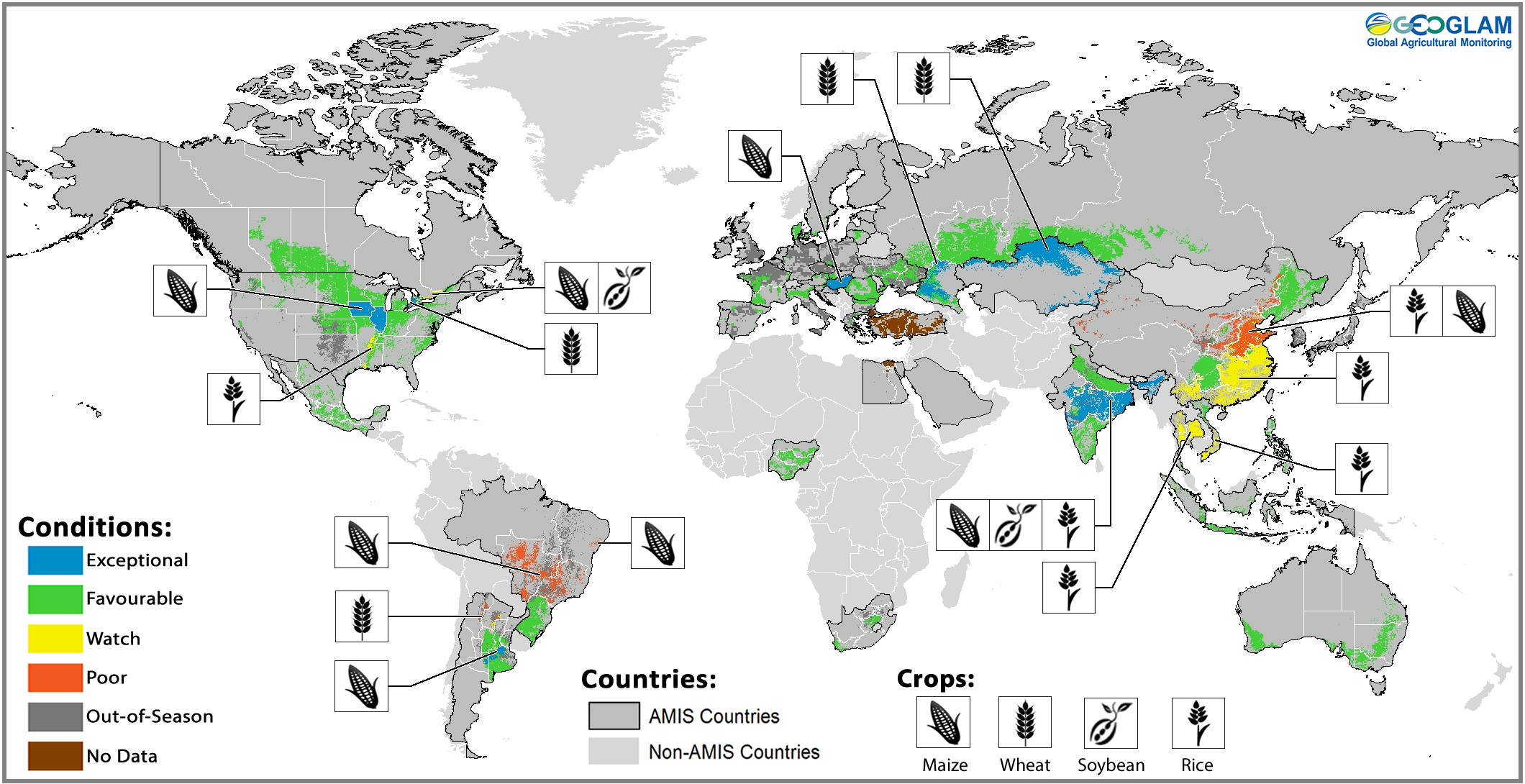 Figure 2: Crop condition map synthesizing information for all four AMIS crops as of August 28th 2016. Crop conditions over the main growing areas for wheat, maize, rice, and soybean are based on a combination of national and regional crop analyst inputs along with earth observation data. Crops that are in other than favourable conditions are displayed on the map with their crop symbol.
